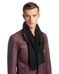 HUGO - Black 'zapo' | Virgin Wool Knit Scarf for Men - Lyst
