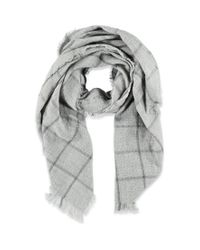 Forever 21 - Gray Frayed Plaid Pattern Scarf - Lyst