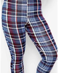 ASOS - Blue Legging In New Tartan Print - Lyst