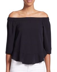 Rebecca Taylor | Black Silk Georgette Off-the-shoulder Top | Lyst