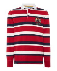 Howick - Red Hanover Striped Long Sleeve Rugby Top for Men - Lyst