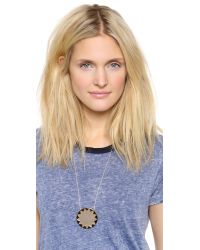 House of Harlow 1960 - Metallic Sunburst Pendant Necklace - Khaki - Lyst