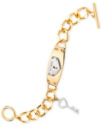 Guess | Metallic Two-tone Key Logo Plaque Id Link Bracelet | Lyst