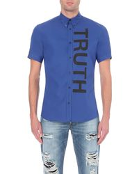Alexander McQueen | Blue Truth Text-print Cotton Shirt - For Men for Men | Lyst