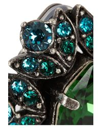 Lanvin - Green Iconic Gunmetal-Tone Crystal Clip Earrings - Lyst
