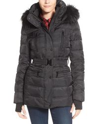 Vince Camuto | Black Faux Down & Feather Jacket With Faux Fur Trim | Lyst