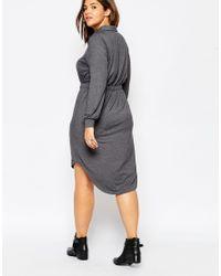 ASOS - Blue Waisted Shirt Dress In Jersey - Lyst