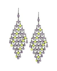 Steve Madden - Hematitetone Purple and Lime Green Bead Chandelier Earrings - Lyst