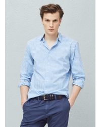 Mango - Blue Slim-fit Gingham Check Shirt for Men - Lyst