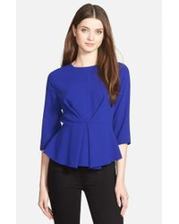 Cece by Cynthia Steffe | Blue Elbow Sleeve Peplum Blouse | Lyst