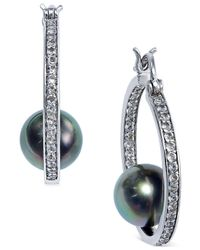 Macy's - Green Tahitian Freshwater Pearl (8 Mm) And White Topaz Accent Hoop Earrings In Sterling Silver - Lyst