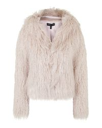 TOPSHOP | Pink Faux Fur Hooded Coat By Kendall + Kylie At | Lyst