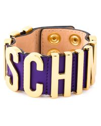 Moschino - Purple Logo Plaque Bracelet - Lyst