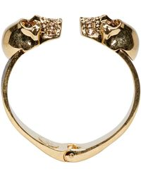 Alexander McQueen - Black And Gold Twin Skull Cuff - Lyst