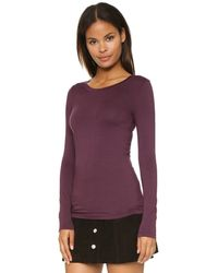 Three Dots - Purple Open Crew Neck Top - Rich Silver - Lyst