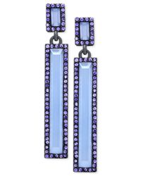 T Tahari | Blue Rectangle Stone And Crystal Drop Earrings | Lyst
