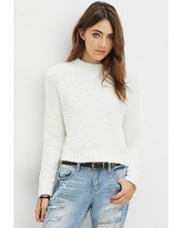 Forever 21 - White Fuzzy Mock Neck Sweater - Lyst
