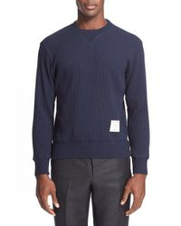 Thom Browne - Blue Waffle Knit Crewneck Sweater for Men - Lyst
