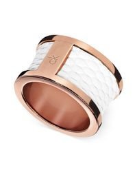 Calvin Klein | Pink Ck Rose Gold Pvd White Leather Barrel Ring | Lyst