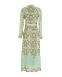 Vilshenko - Green Misha Ornate Scallop Silk Midi Dress - Lyst