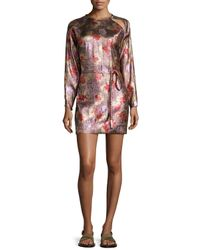 Isabel Marant - Metallic Long-sleeve Tie-waist Dress - Lyst