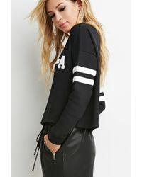 Forever 21 - Black La Varsity-striped Sweatshirt - Lyst