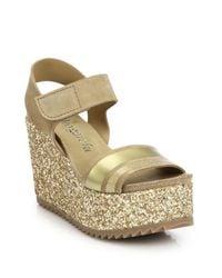 Pedro Garcia - Metallic Dalia Suede & Glitter Wedge Sandals - Lyst