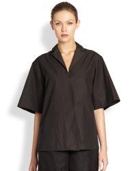 Bottega Veneta | Black Cotton Poplin Wrap Shirt | Lyst