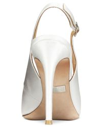 Badgley Mischka - White Sansa Slingback Evening Pumps - Lyst