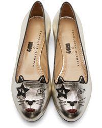 Charlotte Olympia - 'kiss Kitty' Metallic Lamé Flats - Lyst