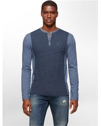 Calvin Klein - Blue Jeans Slim Fit Colorblock Henley for Men - Lyst