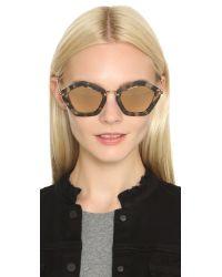 Miu Miu - Brown Geometric Sunglasses - Lyst