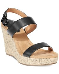 Style & Co. | Black Style&co. Radleyy Platform Espadrille Wedge Sandals | Lyst