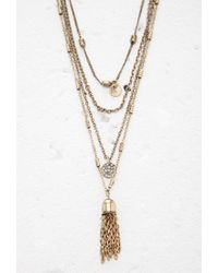 Forever 21 - Metallic Tasseled Bell Charm Layered Necklace - Lyst