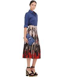 Ferragamo - Blue Saffiano Leather Clutch With Bow - Lyst