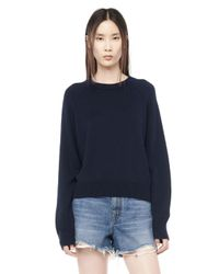 Alexander Wang | Blue Cashwool Cropped Sweater | Lyst
