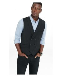 Express Wool Blend Gray Double Breasted Vest for men