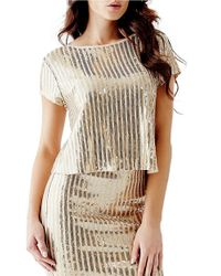 Guess | Metallic Striped Sequin Crisscross-back Top | Lyst