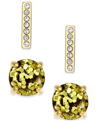 kate spade new york | Metallic Gold-tone Glitter And Pave Bar Stud Earring Set | Lyst