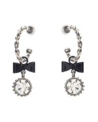 Betsey Johnson | Metallic Crystal Bow Hoop Earrings | Lyst