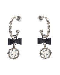 Betsey Johnson | Metallic Crystal Bow Hoop Earrings | Lyst