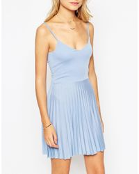 ASOS | Pink Mini Sundress With Pleated Skirt | Lyst