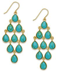 Lauren by Ralph Lauren - Blue Gold-Tone Stone Teardrop Chandelier Earrings - Lyst