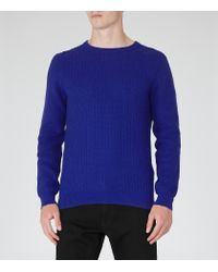 Reiss - Blue Saber Textured Knit Jumper for Men - Lyst