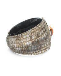 Alexis Bittar - Metallic Crystal Encrusted Croc Textured Hinge Bracelet - Lyst
