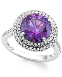 Arabella | Purple And White Swarovski Zirconia Ring In Sterling Silver | Lyst