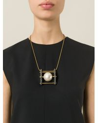 Lanvin - Metallic Pearl Pendant Necklace - Lyst