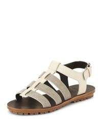 Brunello Cucinelli - Natural Monili Strappy Flat Sandals - Lyst