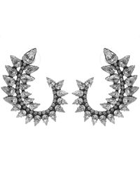 DANNIJO - Metallic Oxidised Silver Arabella Swarovski Crystal Earrings - Lyst