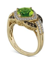 Le Vian - Green 14k Gold Peridot 2110 Ct Tw and White and Chocolate Diamond 13 Ct Tw Ring - Lyst